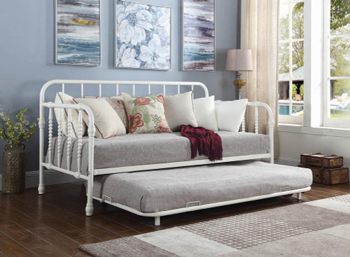 Coaster Twin Daybed With Trundle - Twin Metal Daybed With Trundle White - 300766