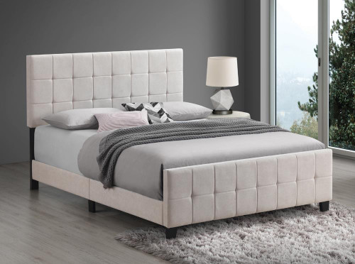 Coaster Fairfield Upholstered Bed - Beige - Fairfield Twin Upholstered Panel Bed Beige - 305952T
