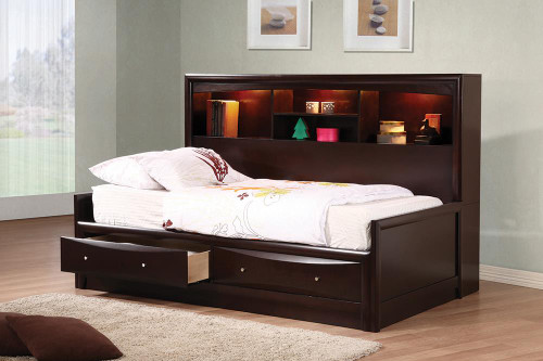 Coaster Phoenix Collection - Phoenix Twin Daybed With Bookcase And Storage Drawers Cappuccino - 400410T