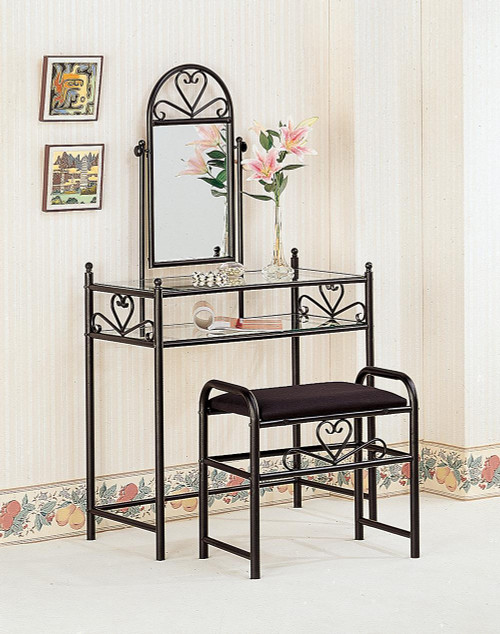 Coaster Black - 2-piece Metal Vanity Set With Glass Top Black - 2432