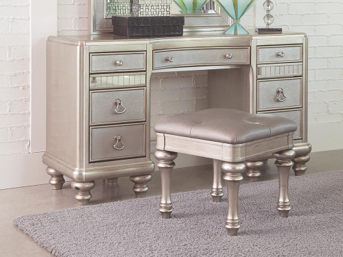 Coaster Bling Game Collection - 9-drawer Vanity Desk Metallic Platinum - 204187