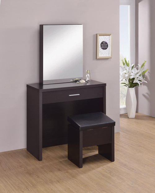 Coaster Black - 2-piece Vanity Set With Lift-top Stool Cappuccino - 300289