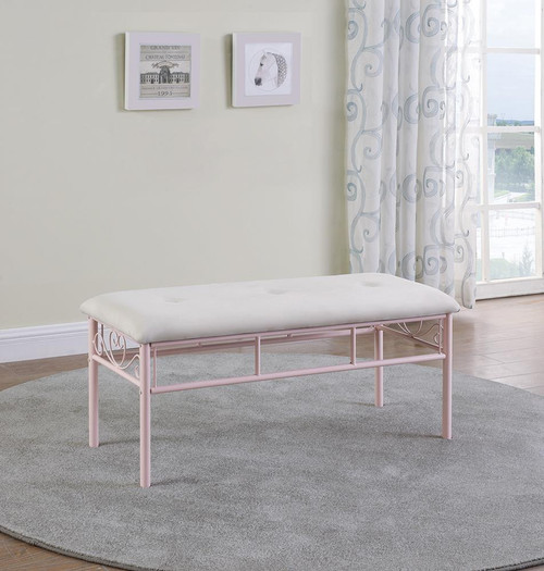 Coaster Massi Collection - White - Massi Tufted Upholstered Bench Powder Pink - 401156