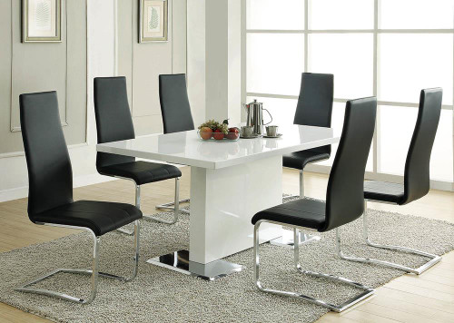 Coaster Everyday Dining: Side Chair - Black - Anges High Back Dining Chairs Black And Chrome (Set of 4) - 100515BLK