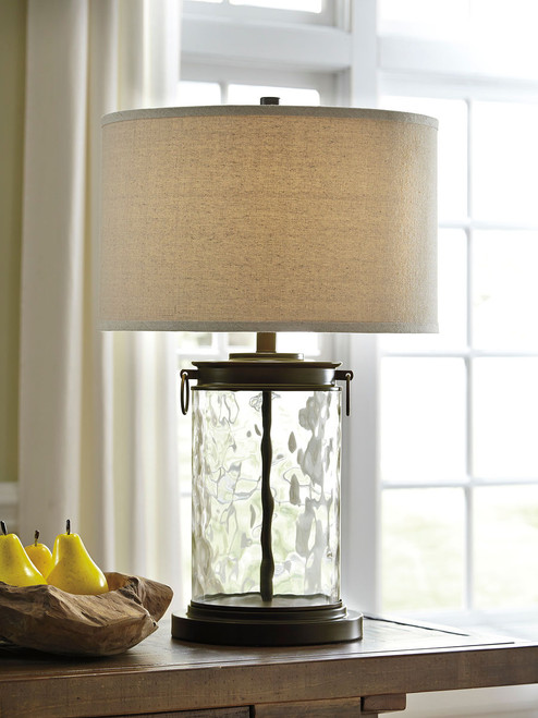 Ashley Tailynn Clear/Bronze Finish Glass Table Lamp