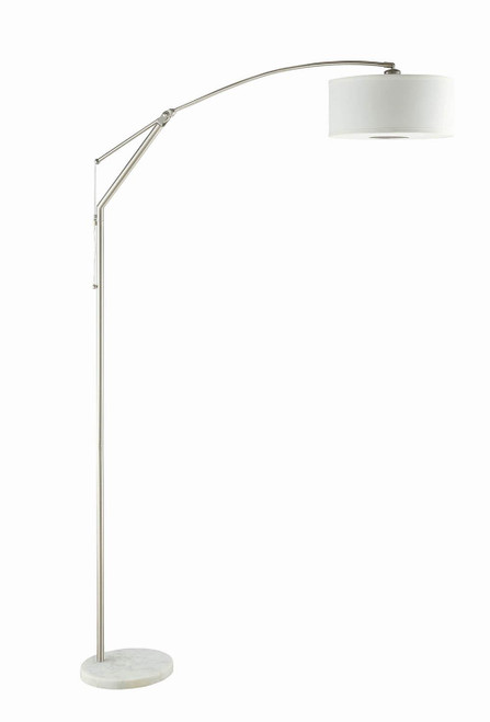 Coaster White - Adjustable Arched Arm Floor Lamp Chrome And White - 901490