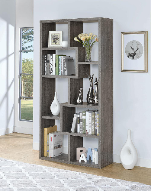 Coaster Home Office : Bookcases - 10-shelf Bookcase Weathered Grey - 800510
