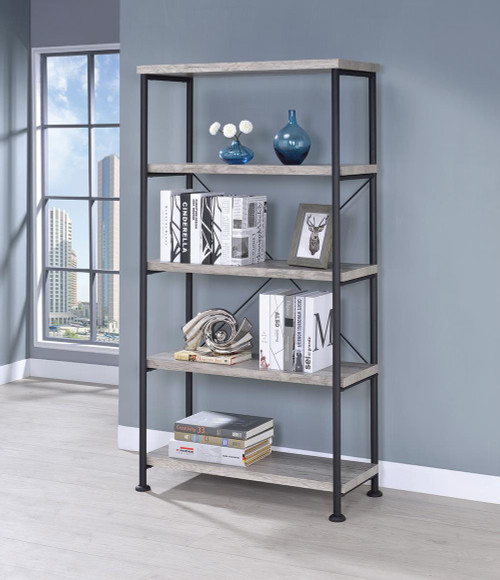 Coaster Analiese Collection - Analiese 4-shelf Bookcase Grey Driftwood - 801546