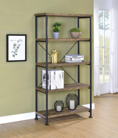 Coaster Analiese Collection - Analiese 4-shelf Bookcase Rustic Oak - 802543