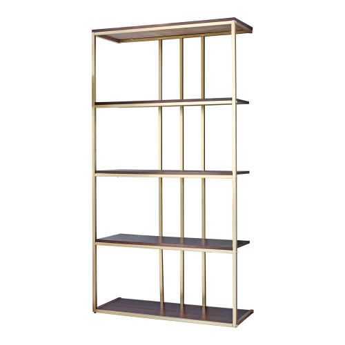 Coaster 4-tier Metal Frame Bookcase Matte Brass And Cherry - 803622