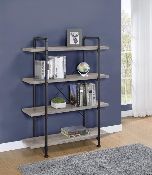 Coaster Delray Collection - Delray 4-tier Open Shelving Bookcase Grey Driftwood And Black - 804406