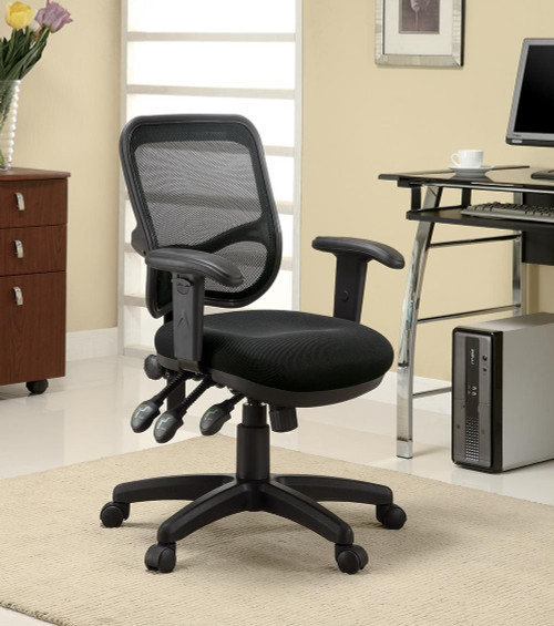 Coaster Home Office : Chairs - Black - Adjustable Height Office Chair Black - 800019