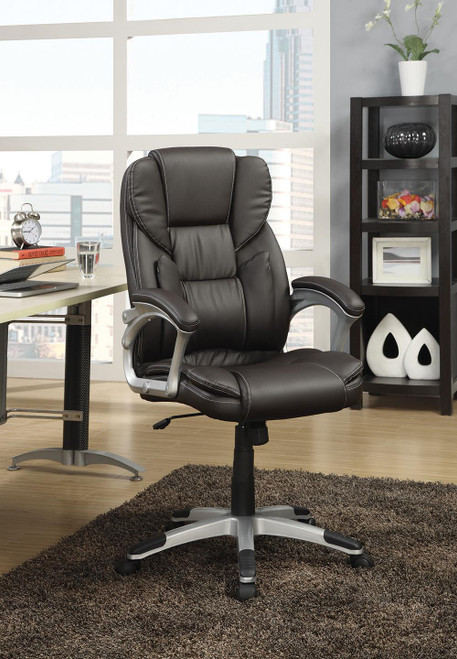 Coaster Home Office : Chairs - Dark Brown - Adjustable Height Office Chair Dark Brown And Silver - 800045