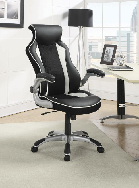 Coaster Home Office : Chairs - Black / White - Adjustable Height Office Chair Black And Silver - 800048