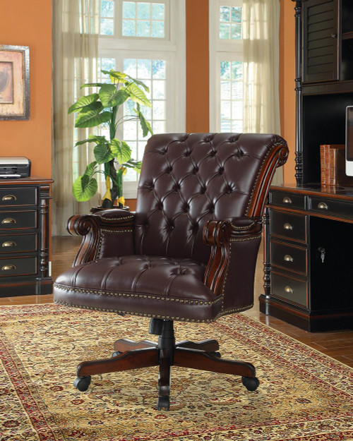 Coaster Home Office : Chairs - Dark Brown - Tufted Adjustable Height Office Chair Dark Brown - 800142
