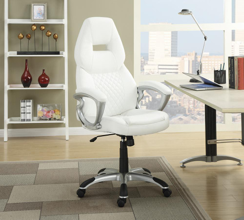 Coaster Home Office : Chairs - White - Adjustable Height Office Chair White And Silver - 800150