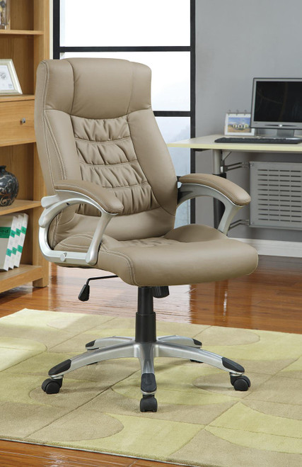 Coaster Home Office : Chairs - Taupe - Adjustable Height Office Chair Taupe And Silver - 800205