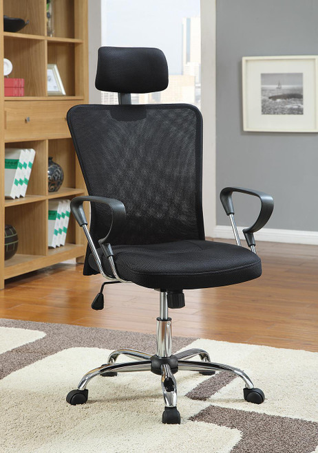 Coaster Home Office : Chairs - Black - Mesh Back Office Chair Black And Chrome - 800206