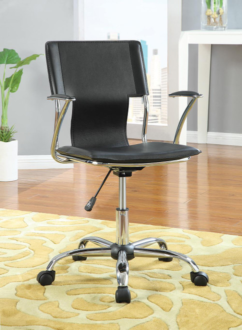 Coaster Home Office : Chairs - Black - Adjustable Height Office Chair Black And Chrome - 800207