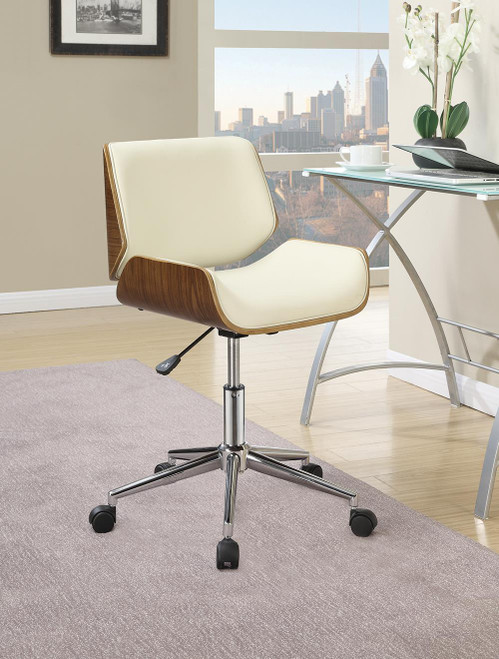 Coaster Home Office : Chairs - Ecru - Adjustable Height Office Chair Ecru And Chrome - 800613