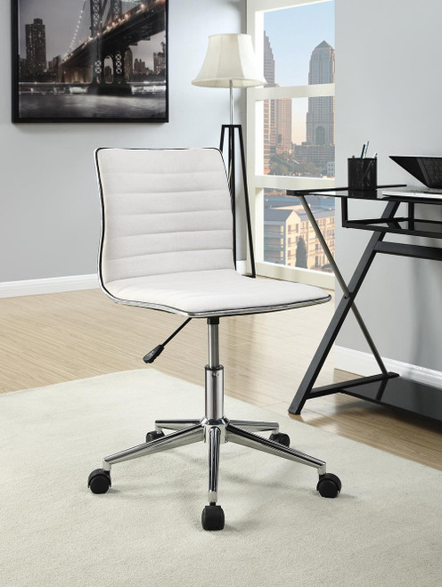 Coaster Home Office : Chairs - White - Adjustable Height Office Chair White And Chrome - 800726