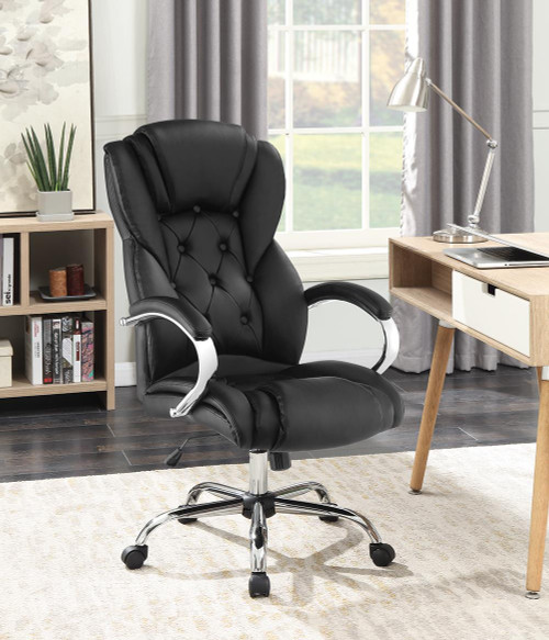 Coaster Home Office : Chairs - Black - Tufted High Back Office Chair Black And Chrome - 800879