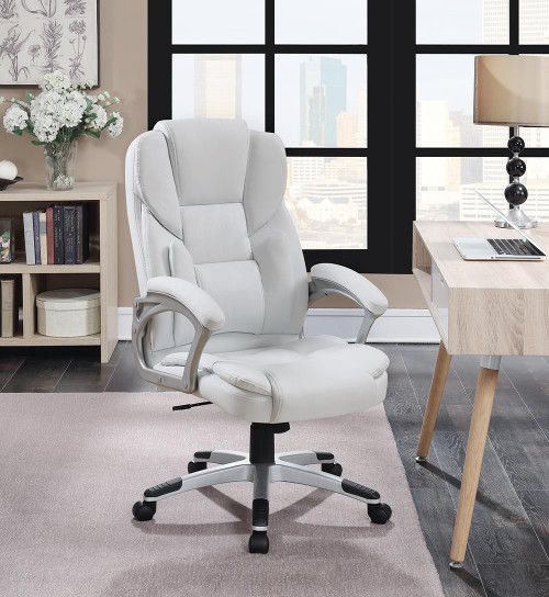 Coaster Home Office : Chairs - White - Adjustable Height Office Chair White And Silver - 801140
