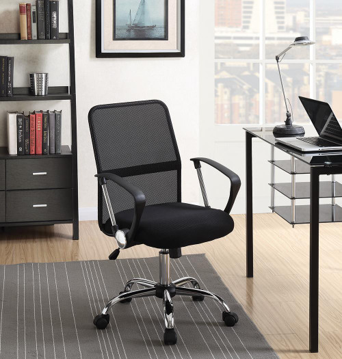 Coaster Home Office : Chairs - Black - Office Chair With Mesh Backrest Black And Chrome - 801319