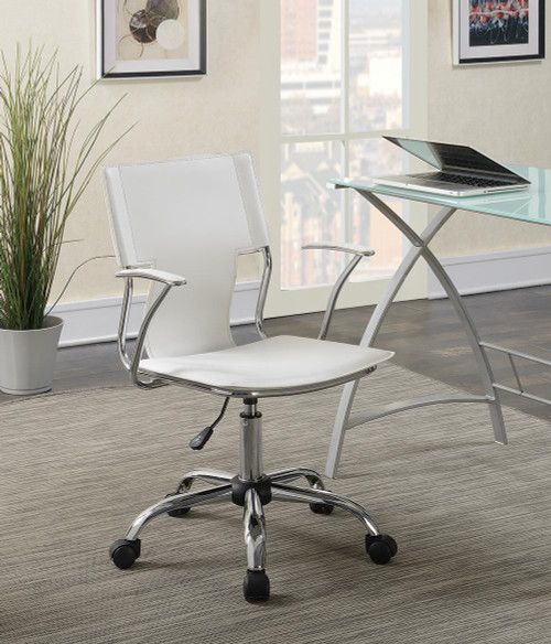 Coaster Home Office : Chairs - White - Adjustable Height Office Chair White And Chrome - 801363