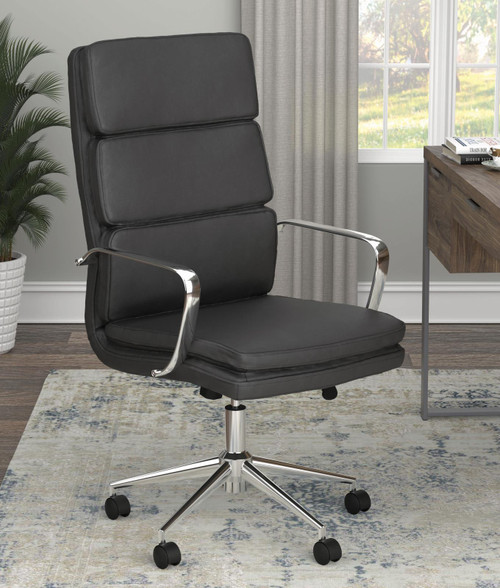Coaster Home Office : Chairs - Black - High Back Upholstered Office Chair Black - 801744