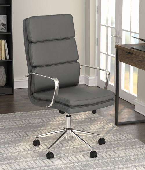 Coaster Home Office : Chairs - Grey - High Back Upholstered Office Chair Grey - 801745