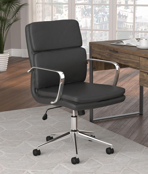 Coaster Home Office : Chairs - Black - Standard Back Upholstered Office Chair Black - 801765
