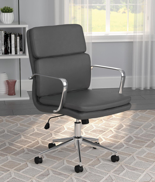 Coaster Home Office : Chairs - Grey - Standard Back Upholstered Office Chair Grey - 801766