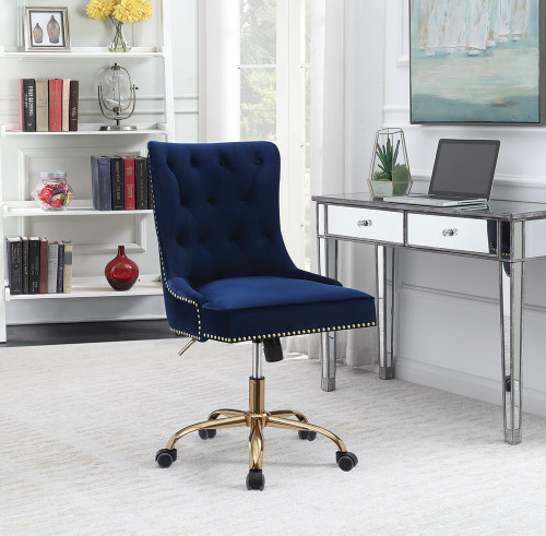 Coaster Home Office : Chairs - Blue - Upholstered Office Chair With Nailhead Blue And Brass - 801984
