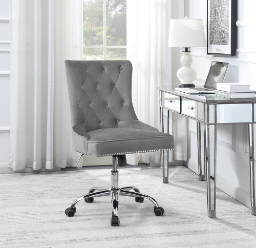 Coaster Home Office : Chairs - Grey - Tufted Back Office Chair Grey And Chrome - 801994