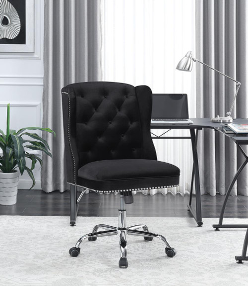 Coaster Home Office : Chairs - Black - Upholstered Tufted Office Chair Black And Chrome - 801995