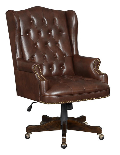 Coaster Brown - Adjustable Height Office Chair Brown And Dark Cherry - 802058