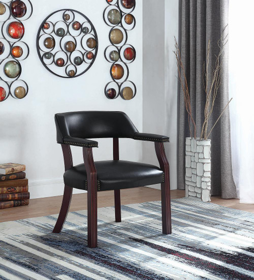 Coaster Home Office : Chairs - Black - Office Chair With Nailhead Trim Black - 411K