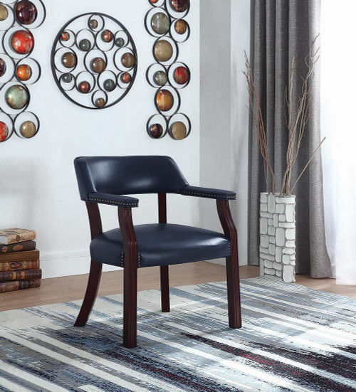 Coaster Home Office : Chairs - Blue - Office Chair With Nailhead Trim Blue - 411N