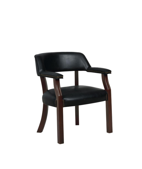 Coaster Home Office : Chairs - Black - Upholstered Office Chair With Nailhead Trim Black - 511K