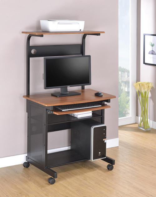 Coaster Home Office : Desks - 3-tier Computer Desk Honey And Black - 7121