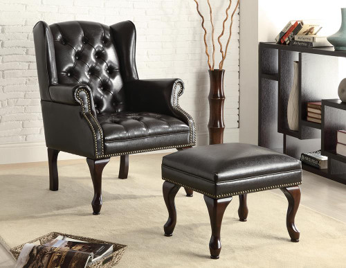 Coaster Accents : Chairs - Black - Button Tufted Back Accent Chair With Ottoman Black And Espresso - 900262