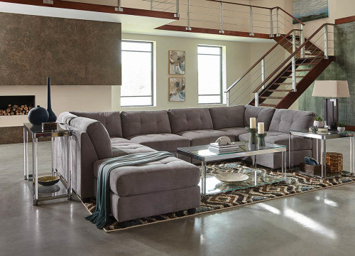 Coaster Claude Sectional - Dove - Claude Tufted Cushion Back Armless Chair Dove - 551004