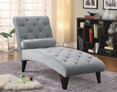 Coaster Accents : Chaises - Grey - Tufted Chaise With Small Bolster Pillow Grey - 550067
