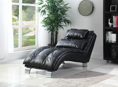 Coaster Accents : Chaises - Black - Dilleston Upholstered Chaise Black - 550075