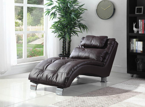 Coaster Accents : Chaises - Dark Brown - Dilleston Upholstered Chaise Brown - 550076