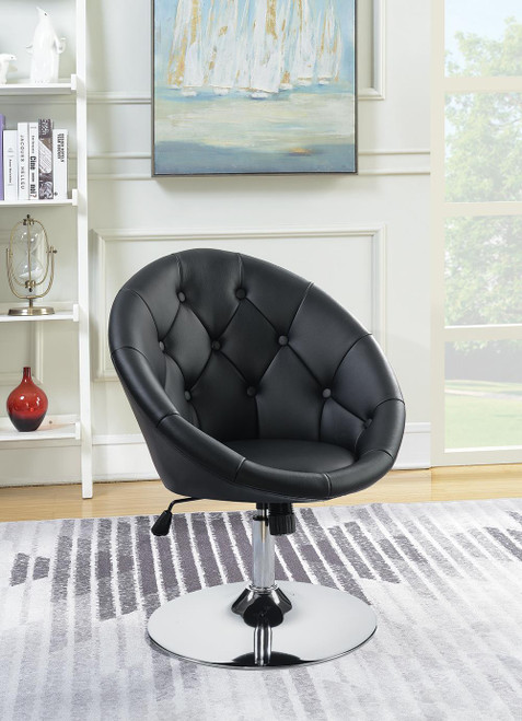 Coaster Accents : Chairs - Black - Round Tufted Swivel Chair Black And Chrome - 102580