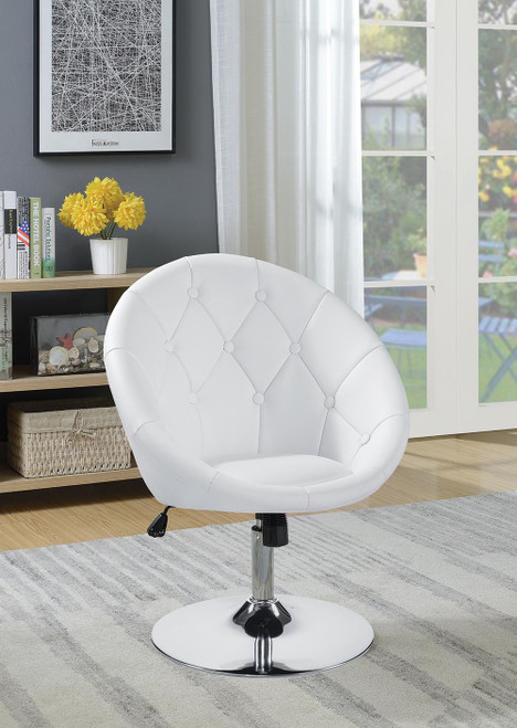 Coaster Accents : Chairs - White - Round Tufted Swivel Chair White And Chrome - 102583