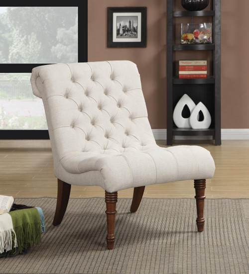 Coaster Accents : Chairs - Oatmeal - Armless Tufted Back Accent Chair Oatmeal - 902176