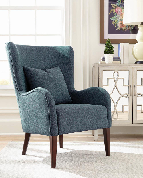 Coaster Blue - Curved Arm Upholstered Accent Chair Blue - 903963
